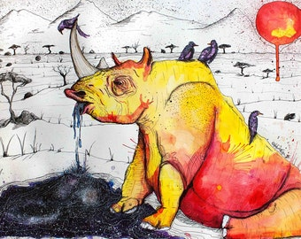 """Rhinoceros Art - Safari Scene - Surreal Rhino - Space Water  - Cosmic Art - Wall Decor - """"To Quench a Thirst""""  by Far Out Arts"""