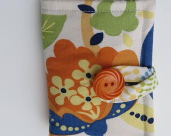 Tea Wallet , Tea Bag Holder, Cute Accessory, Purse Accessory, Orange, Yellow, and Blue Flower