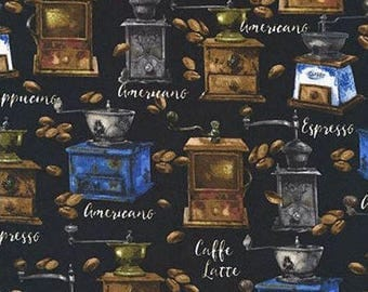 Fat Quarter -Freshly Roasted Coffee Fabric by Robert Kaufman Fabrics AKO-72498-2 Black
