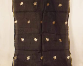 GOLD and Silk SCARF goldthread Brocade decorative borders great condition 49x17 1/2 in