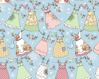 FABRIC LAUNDRY DAY Aprons on the line on Blue Background    We Combine Shipping