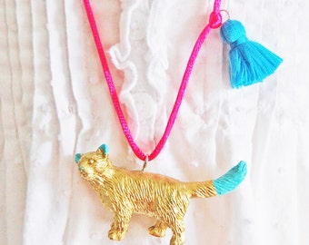 Cat Necklace. Kids Cat Necklace. Tassel Necklace. Gifts for Cat Lovers. Kitty Necklace. Girls Cat Necklace. Gifts for Kids. Boho Kids
