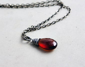 Garnet Necklace, Red Crystal Necklace, January Birthstone, Birthstone Pendant