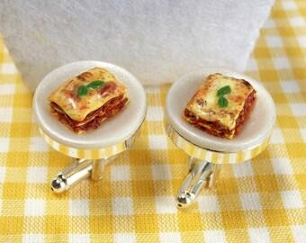 Lasagna Cufflinks - Italian Food Cuff links - Miniature Food Art Jewelry - Schickie Mickie Original 100% handmade