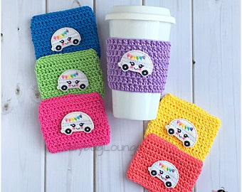 Coffee Cup Cozy. Colorful Camper Cozy. Vacation Camper Cozy. Summer Picnic Party Favor. Gift for kids. Gift for Her. Teacher Gift under 10.