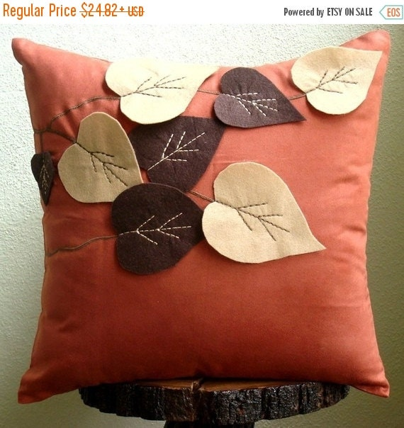 """15% HOLIDAY SALE Rust Decorative Pillows Cover,  Square  Leaf Felt Applique Tropical Theme 16""""x16"""" Faux Suede Pillows Covers For Couch - Spr"""