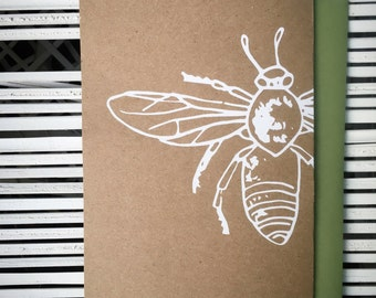 Honey Bee Hand Printed Greeting Card