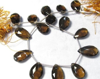 AAA Rose Cut Whiskey Quartz Briolette Beads , Many Possible Pairs , Sparkling Pristine Natural Quartz 14mm - 19mm