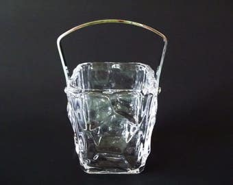 Sevres Crystal Glass Ice Bucket With Chrome Handle, Mid-Century Abstract Design, France 1950s