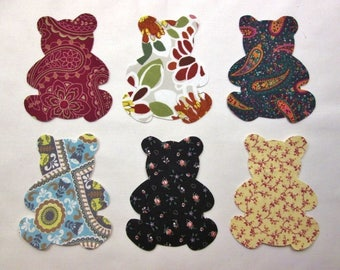 Set of 6 Lg Teddy Bear  Fusible Iron-on Cotton Fabric Appliques