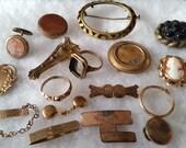Antique Jewelry Destash Supply Lot, Victorian Vintage parts & pieces craft, steampunk design work
