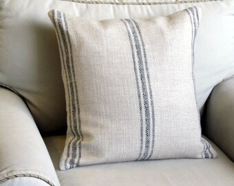 French Laundry  pillow cover BLACK Stripes 20x20