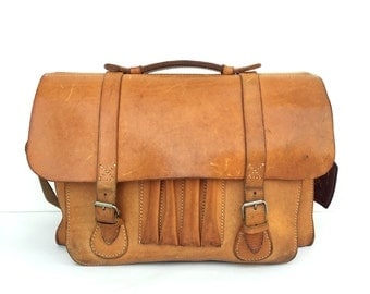 Vintage Brown Leather Satchel Briefcase Bag