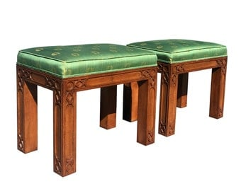 Vintage Fretwork Pair of Benches Hollywood Regency Stools