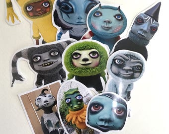 Art Doll Sticker Pack Hand Cut Original Handmade Creatures