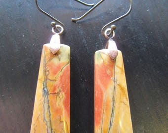 Earrings Red Creek Jasper Gemstone Beautiful Drop with Oxidized Handcrafted Earwires Mystic Cavern Spirit I