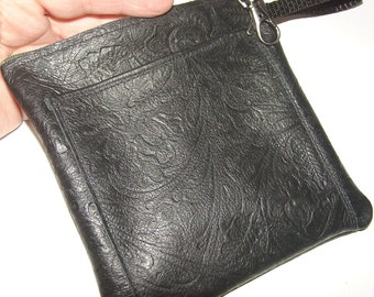Black Embossed LEATHER Pouch w/Front Pocket & Thump Loop