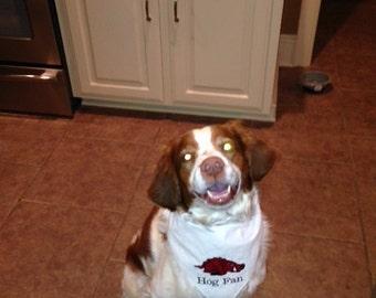 Hog Fan Dog Scarf, Razorback Dog Scarf, Arkansas Dog Scarf, Embroidered Red and White Dog Scarf