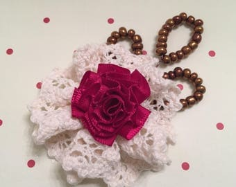 Shabby Chic, Lace Rosette, Victorian, Handmade Flower, Beads, Decoration, Embellishment, Hair Comb, Package Topper, Hat Flower, Brooch, Bag