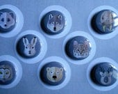 Animal Faces Flair Buttons-YOU CHOOSE STYLE