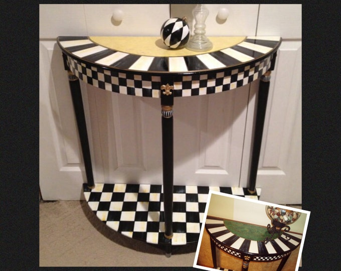 Whimsical Painted Furniture, Half moon table // Crescent table // Painted Console Table