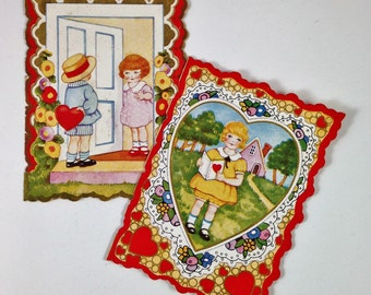 Two Vintage Valentines from the 1930's with Very Sweet Images of Children , Double Sided