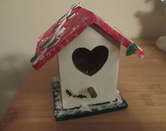 Hand Painted Christmas Light Birdhouse Holiday Decor