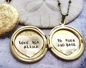 Personalized necklace, Love you to the moon and back, Valentine's necklace, custom hand stamped message, gift for her, heart locket necklace