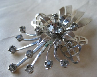 Flower Rhinestone Silver Brooch Vintage Pin Clear Filigree