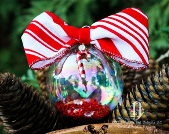 Candycane Striped Red White Diamond Glass Round Ornament, Flocked Velvet BowTie Ribbon Crystal Christmas Holiday Tree Decor