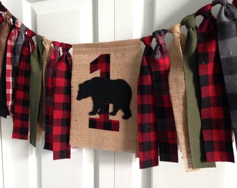 Woodland bear lumberjack High Chair Banner 1st Birthday cake smash photo prop Birthday Banner Burlap Banner Rag Tie Banner Buffalo plaid