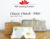 PDF Sewing Pattern Classic Clutch - PRO Multi-size Pattern and Tutorial for use with Small, Medium, and Large Purse Frames by UPSTYLE