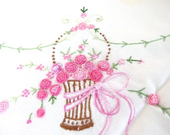 Vintage Small Square Tablecloth, Hand Embroidered Pink / Gold Roses in Baskets Table Cloth, 46.5 x 50.5 Inches