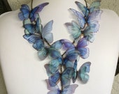 Handmade Statement Necklace - Blue Morpho Silk Organza Butterflies - One of a Kind - Unique Necklace