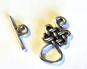 Zola Elements Antique Silver Infinity Knot Toggle Clasp, 24x13mm, 18mm Bar, Findings, Jewelry Supplies