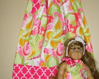 doll dress Matching  Riley Blake pink green floral pillowcase dress America Girl Doll  6,9,12,18 month 2t, 3t, 4t, 5t,6,7,8,9,10,12