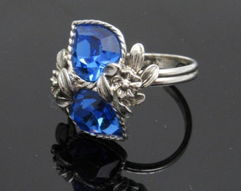 Double Heart Ring Sapphire Crystal September Birthstone Love Story Vintage Coventry R7596
