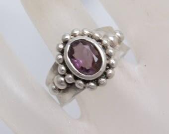 Sterling Amethyst Ring Vintage Purple Jewelry R3916