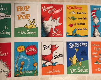 Free ship US Dr Seuss FABRIC PANEL 10 Block 100% cotton panel appr 23 x 44 Dr Seuss book titles Lorax, Cat in the Hat, One Fish, Hop on Pop