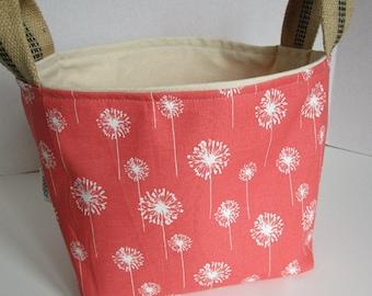 Fabric Storage Bin Knitting Tote Kids Room Organizer Coral