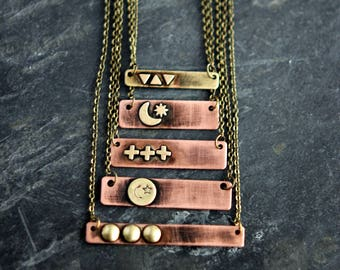 Distressed Bar Pendants in Rustic Brass & Copper