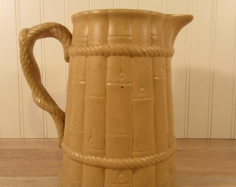 Price reduced.....Large old Stoneware batter pitcher- Ridway- bamboo motif with rope styled handle, beautiful, great condition, solid