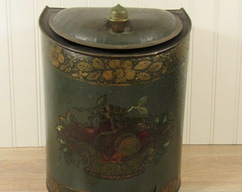 Price reduced.....Large old tea tin with beautiful floral design and hinged lid- old, solid, fine vintage condition, beautiful home decor