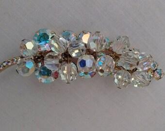 Vintage grape cluster rhinestone beads brooch