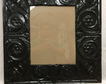 TIN Ceiling Metal Picture Frame Black 11x14 Shabby Recycled chic 452-16