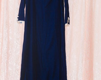 Vintage Gown - Stunning Royal Blue Velvet Bridesmaid Prom Lace Bow