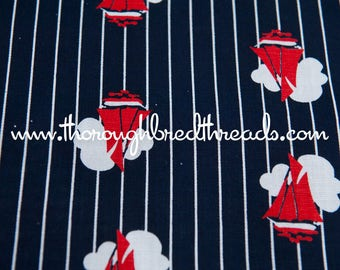 Striped Sailboats- Vintage Fabric Novelty Nautical Boats Ocean Beach Clouds