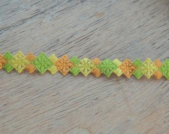 3 yards Diamond Applique - Vintage Trim Juvenile 60s 70s New Old Stock Fun GeometricDaisies Orange Lime Green Yellow
