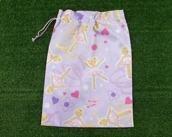 Drawstring ballet bag, lilac ballet shoe bag, medium ballet gift bag, ballerina bag