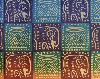 Zimbabwean hand printed and hand dyed batik - 1/2 yard of bright Elephants and Headrest